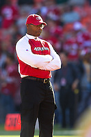 20 September 2010: Head coach Mike Singletary of the San Francisco 49ers watches his team warm up before the New Orleans Saints 25-22 victory over the 49ers at Candlestick Park in San Francisco, CA.