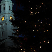 The town Christmas Tree and North Church in Market Square, Portsmouth, NH