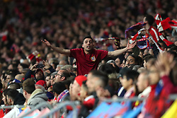 May 3, 2018 - Madrid, Spain - SUPPORTER of Atletico de Madrid cheers his team during the UEFA Europa League, semi final, 2nd leg football match between Atletico de Madrid and Arsenal FC on May 3, 2018 at Metropolitano stadium in Madrid, Spain (Credit Image: © Manuel Blondeau via ZUMA Wire)