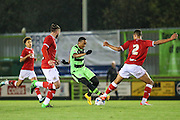 Bristol City's Zac Vyner attempts to stop Forest Green Rovers Keanu Marsh-Brown during the The County Cup match between Forest Green Rovers and Bristol City at the New Lawn, Forest Green, United Kingdom on 23 November 2015. Photo by Shane Healey.