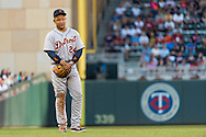 Miguel Cabrera #24 of the Detroit Tigers plays around during a pitching change against the Minnesota Twins on June 15, 2013 at Target Field in Minneapolis, Minnesota.  The Twins defeated the Tigers 6 to 3.  Photo: Ben Krause