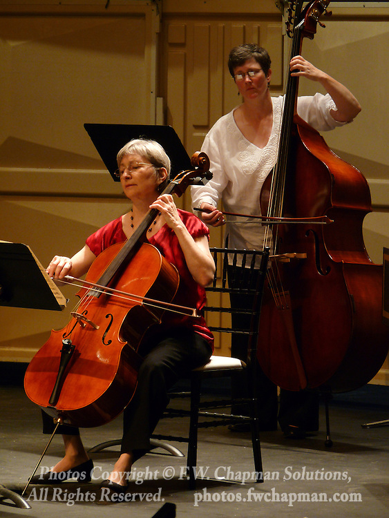 Valley Vivaldi string players Deborah Davis, cello, and Nancy Merriam, bass, perform in a Sunday evening concert starting at 7:30 PM on June 28, 2009 at Cedar Crest College in Allentown, Pennsylvania, USA.