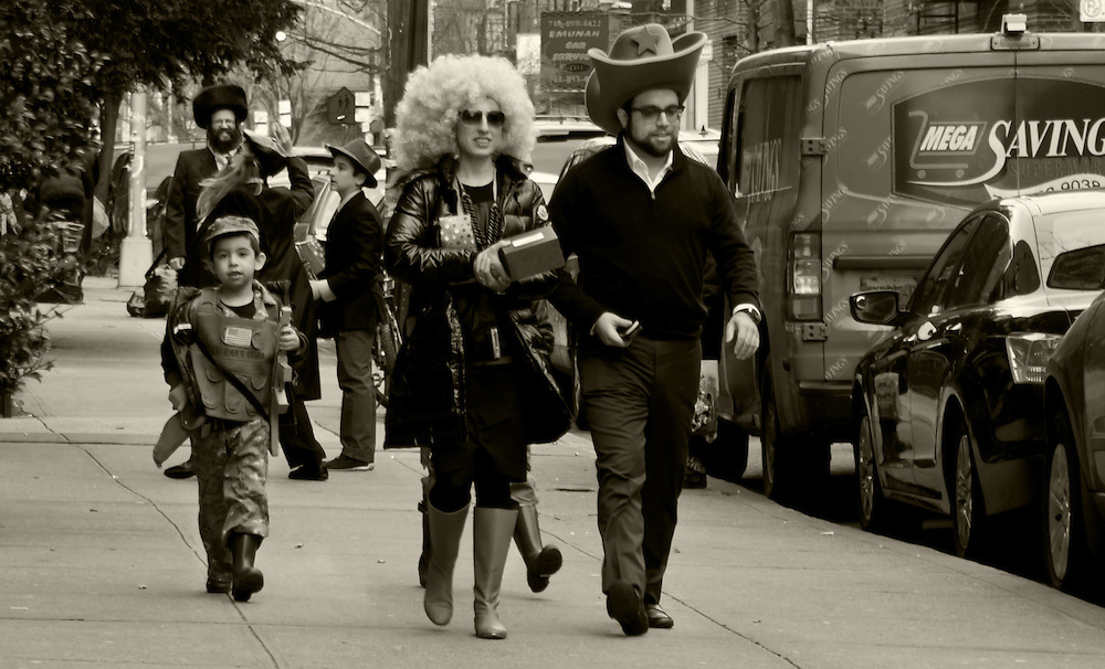 Purim, a Jewish Holiday, celebration on the streets of Borough Park, Brooklyn. First of 16 photos.