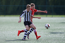 NEWPORT, WALES - Thursday, August 4, 2016: South Wales Academy Boys'  Cody Berry [L][ and North Wales Academy Boys' Jack Hitchin during the Welsh Football Trust Cymru Cup 2016 at Newport Stadium. (Pic by Paul Greenwood/Propaganda)