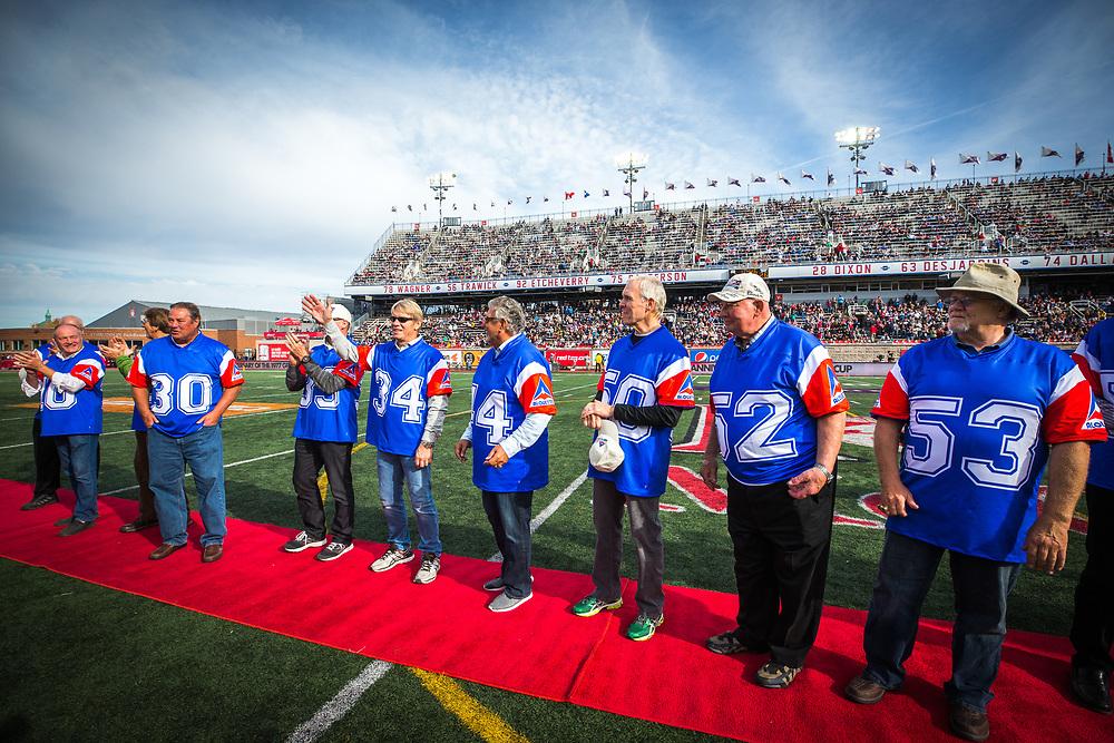 match des Alouettes contre les Tigers Cats d'hamilton à Montreal le 22 Octobre 2017<br /> <br /> photo: Dominick Gravel