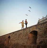 """Walking the wall of the """"Old City"""" in Cartagena, Colombia. (Photo/Scott Dalton)"""