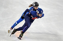 Great Britain's Charlotte Gilmartin and Olympic Athlete from Russia Emina Malagich in the Women's 500m Short Track heat eight during day one of the PyeongChang 2018 Winter Olympic Games in South Korea.