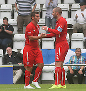James McPake congratulates Peter MacDonald after the striker had scored Dundee's tourth goal - Morecambe v Dundee, pre-season friendly at the Globe Arena<br /> <br />  - &copy; David Young - www.davidyoungphoto.co.uk - email: davidyoungphoto@gmail.com