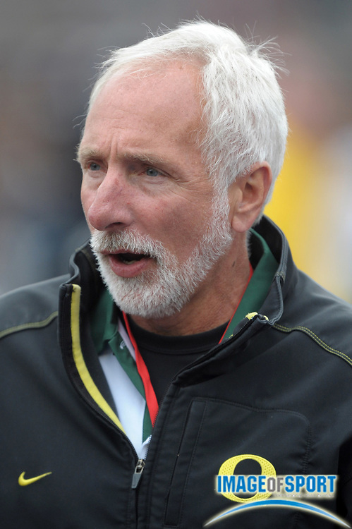 Apr 28, 2012; Philadelphia, PA, USA; Oregon Ducks coach Vin Lannana in the 118th Penn Relays at Franklin Field.