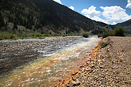 Pollution streams down from mining operations into the Animas River in Silverton Colorado, some of which is from the Gold King Mining Disater in2015.