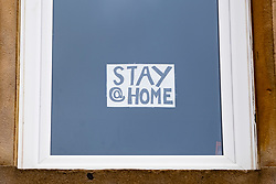 Glasgow, Scotland, UK. 3 April, 2020. Images from the southside of Glasgow at the end of the second week of Coronavirus lockdown. Pictured; hand drawn message in window of flat in Govanhill . Iain Masterton/Alamy Live News