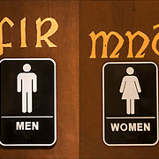 Restroom sign Fir for men in Irish Restaurant in NYC.<br /> <br /> Irish don't used to label the &ldquo;toilets&rdquo; (the Irish don't usually use the word &ldquo;bathroom&rdquo;) Mn&aacute; = Women &amp; Fir = Men.