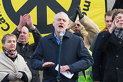 London, February 27th 2016. Labour Party Leader Jeremy Corbyn address the thousands of protesters in Trafalgar Square at  CND's rally opposing the UK's Trident nuclear weapons programme. <br /> ©Paul Davey<br /> FOR LICENCING CONTACT: Paul Davey +44 (0) 7966 016 296 paul@pauldaveycreative.co.uk