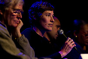 "Heather Stouder, the city of Madison's planning division director, makes a point during the panel discussion: ""How can Madison build more great neighborhoods?"" at High Noon Saloon in Madison, Tuesday, November 7, 2017."