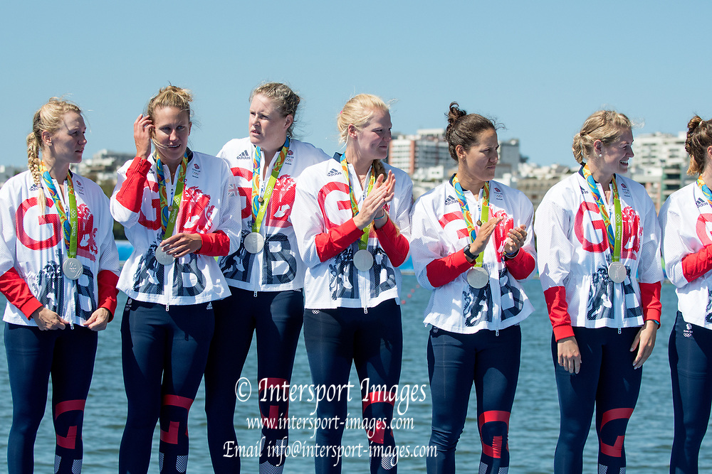 Rio de Janeiro. BRAZIL   Women's Eights Final. Silver Medalist GBR W8+. Bow. Katie<br /> GREVES, Melanie  WILSON, Frances HOUGHTON, Polly  SWANN,  Jessica EDDIE,  Olivia CARNEGIE-BROWN, Karen BENNETT, Zoe LEE and  Zoe DE TOLEDO, 2016 Olympic Rowing Regatta. Lagoa Stadium, Copacabana,  &ldquo;Olympic Summer Games&rdquo;<br /> Rodrigo de Freitas Lagoon, Lagoa. Local Time 11:47:57  Saturday  13/08/2016<br /> [Mandatory Credit; Peter SPURRIER/Intersport Images]