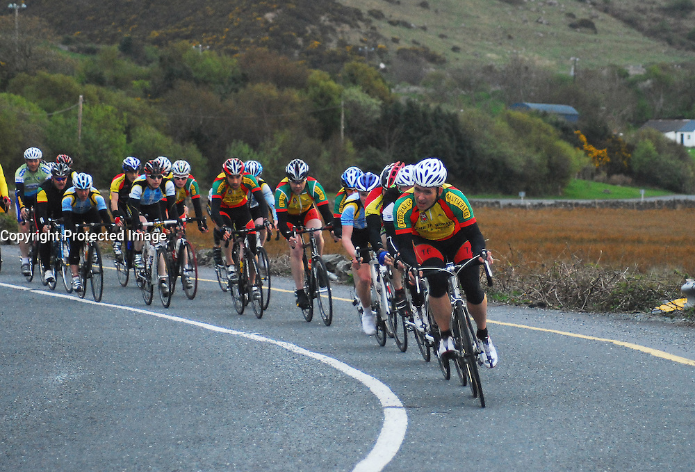 Chris Troy Castlebar Cycling Club leads the chasing pack during race 2 of the Mayo League...Pic Conor McKeown