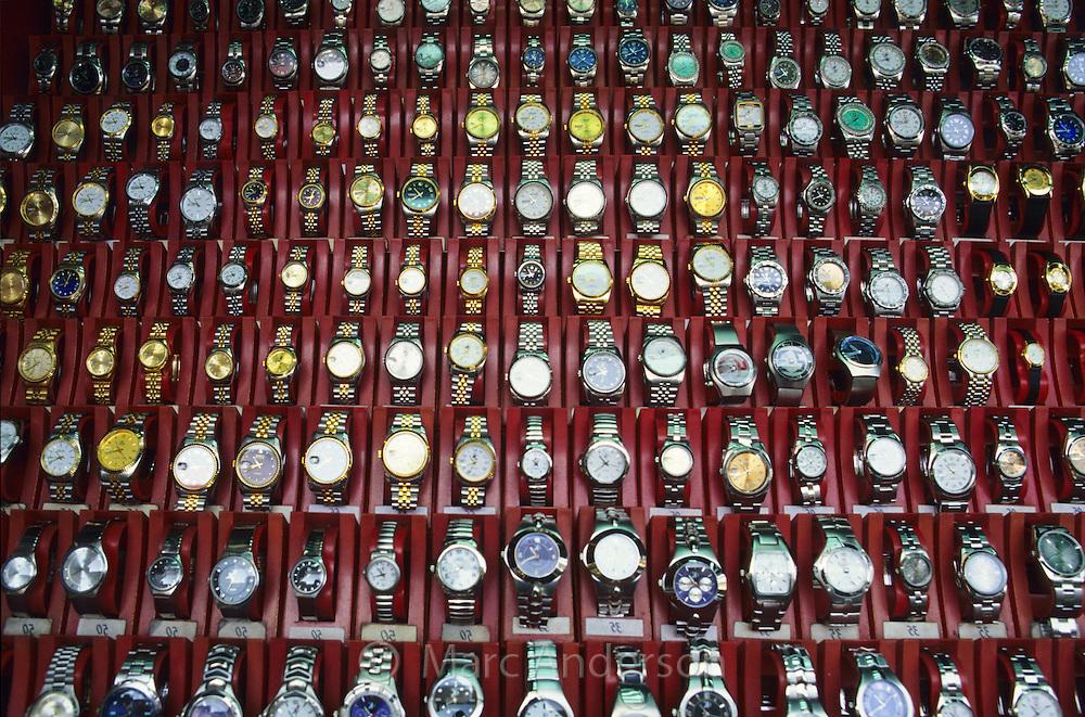 Variety of watches in a market in Mongkok, Hong Kong, China.