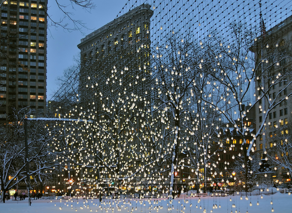 Scattered Light in Madison Square Park's Oval Lawn and The Flatiron Building