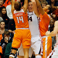 Oregon Statel Ruth Hamblin, center, is double teamed by Tennessee's Andraya Carter, left, and Mercedes Russell in the second half of an NCAA college basketball game, in Corvallis, Ore., on Saturday, Dec. 19, 2015. Tennessee won 53-50. (AP Photo/Timothy J. Gonzalez)