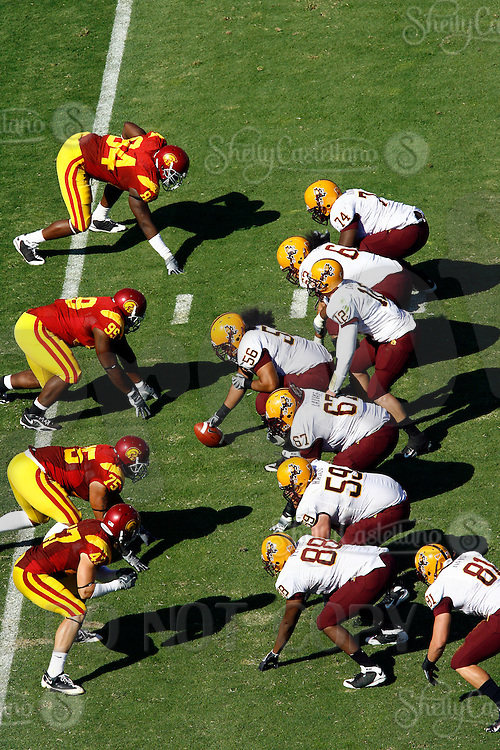 11 October 2008: The defensive line of scrimmage from an  elevated view during the NCAA Pac-10 USC Trojans 28-0 shut-out win over the Arizona State University Sun Devils during a day college football game at the Los Angeles Memorial Coliseum in Southern California.