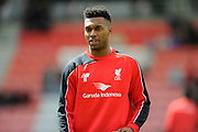 Liverpool forward Daniel Sturridge warming up before the Barclays Premier League match between Bournemouth and Liverpool at the Goldsands Stadium, Bournemouth, England on 17 April 2016. Photo by Graham Hunt.