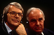 British Prime Minister, John Major during the joint press conference with Chancellor Helmut Kohl, during the Anglo-German summit on 11th November 1992 at Heythrop Park in Oxfordshire, England.