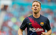 FC Barcelona midfielder Arthur (8) warming up prior to the game with SSC Napoli during a La Liga-Serie A Cup soccer match, Wednesday, Aug. 7, 2019, in Miami Gardens, Fla. FC Barcelona beat Napoli 2-1 (Kim Hukari/Image of Sport)
