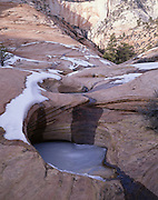 Frozen Pool of Water, Sandstone Canyon, Canyon, Sandstone, Winter, Ice, Snow, Zion, Zion National Park, Utah