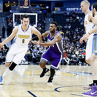 06 March 2017: Denver Nuggets forward Danilo Gallinari (8) drives past Sacramento Kings guard Buddy Hield (24) during the Denver Nuggets 108-96 victory over the Sacramento Kings, at the Pepsi Center, Denver, Colorado, USA.