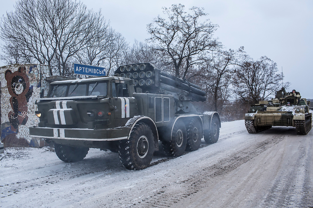 ARTEMIVSK, UKRAINE - FEBRUARY 16: A Ukrainian Uragan self-propelled multiple rocket launcher prepares to drive in the direction of the embattled town of Debaltseve on February 16, 2015 in Artemivsk, Ukraine. A ceasefire that went into effect two days ago has been generally respected aside from Debaltseve, where pro-Russian rebels claim to have surrounded thousands of Ukrainian fighters and the battle continues. (Photo by Brendan Hoffman/Getty Images) *** Local Caption ***