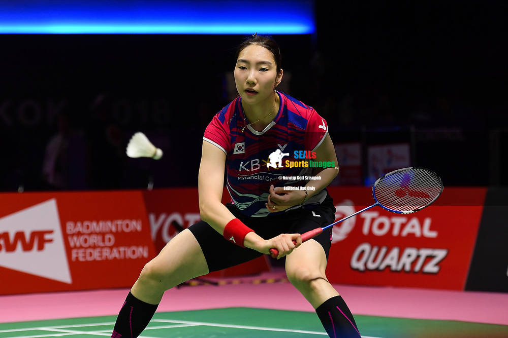 BANGKOK, THAILAND - MAY 24: Sung Ji Hyun of South Korea in action on Court 2 during her Quarter Finals match against Michelle Li of Canada at the BWF Total Thomas and Uber Cup Finals 2018, Impact Arena, Bangkok, Thailand on May 24, 2018.<br /> .<br /> .<br /> .<br /> (Photo by: Naratip Golf Srisupab/SEALs Sports Images)<br /> .<br /> Any image use must include a mandatory credit line adjacent to the content which should read: Naratip Golf Srisupab/SEALs Sports Images