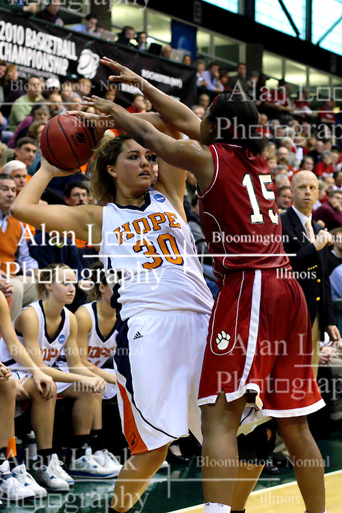 20 March 2010: Jaimie McFarlin muscles up against Carrie Snikkers forcing a pass by Snikkers. The Flying Dutch of Hope College fall to the Bears of Washington University 65-59 in the Championship Game of the Division 3 Women's NCAA Basketball Championship the at the Shirk Center at Illinois Wesleyan in Bloomington Illinois.