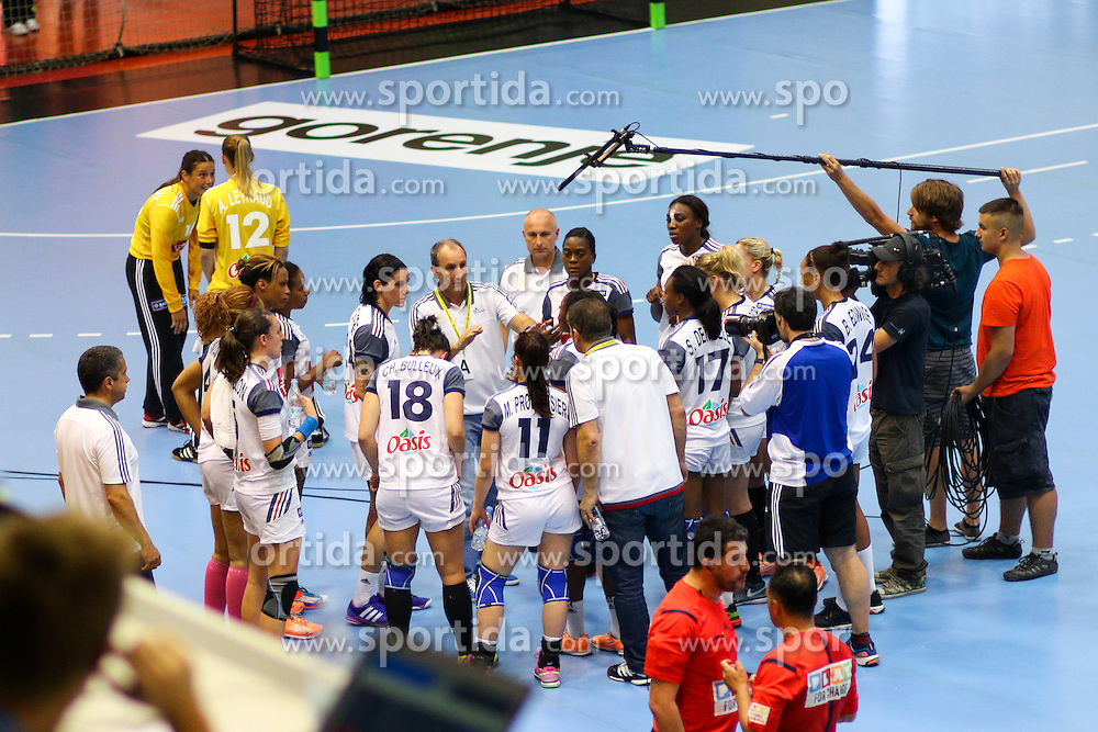 Team France and Alain Portes, head coach of France, during handball match between National Teams of Slovenia and France in Qualification of 2015 Women's European Championship, on June 13th, in Rdeca Dvorana, Velenje. Photo by Morgan Kristan / Sportida