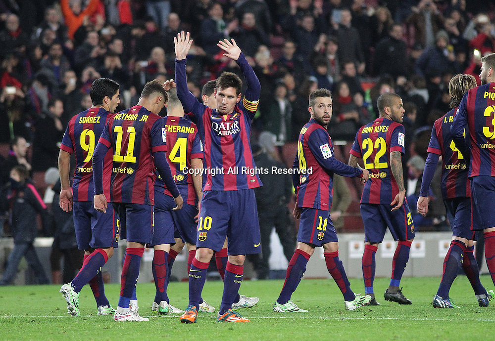08.01.2015. Barcelona, Spain. Copa del Rey. Barcelona versus Elche CF. Leo Messi celebrates his goal
