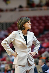 08 March 2008: Coach Robin Pingeton shows a look of disgust after an official makes a call she doesn't agree with. The University of Evansville Purple Aces and the Illinois State University Redbirds took the court looking for the MVC season title, but the Redbird win (87-72) split the title.  The game was played on Doug Collins Court in Redbird Arena in Normal Illinois.