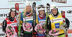 29.01.2011, Grasgehren Lifte, Grasgehren, GER, FIS Skicross World Cup, Grasgehren, im Bild Podium, 2. Platz, Heidi ZACHER (GER), Siegerin, Anna HOLMLUND (SWE), 3. Platz Katrin MUELLER (SUI) und 4. Platz, Anna WOERNER (GER // Podium, 2nd place, Heidi ZACHER (GER), winner, Anna HOLMLUND (SWE), 3rd place, Katrin MUELLER (SUI) and 4th place Anna WOERNER (GER) during FIS Skicross World Cup in Grasgehren, Germany, EXPA Pictures © 2011, PhotoCredit: EXPA/ S. Kiesewetter