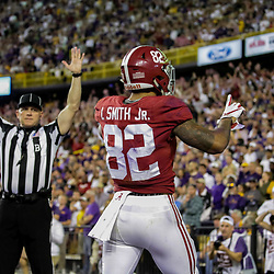 Nov 3, 2018; Baton Rouge, LA, USA; Alabama Crimson Tide tight end Irv Smith Jr. (82) celebrates after a touchdown against the LSU Tigers during the second quarter at Tiger Stadium. Mandatory Credit: Derick E. Hingle-USA TODAY Sports