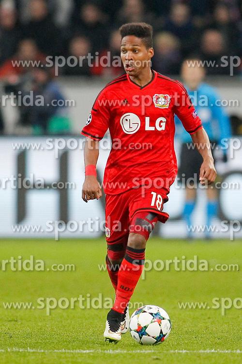 25.02.2015, BayArena, Leverkusen, GER, UEFA EL, Bayer 04 Leverkusen vs Atletico Madrid, 1. Runde, R&uuml;ckspiel, im Bild Nascimento Borges Wendell (Bayer 04 Leverkusen #18) // during the UEFA Europa League 1st Round, 2nd Leg match between Bayer 04 Leverkusen and Atletico Madrid at the BayArena in Leverkusen, Germany on 2015/02/25. EXPA Pictures &copy; 2015, PhotoCredit: EXPA/ Eibner-Pressefoto/ Schueler<br /> <br /> *****ATTENTION - OUT of GER*****