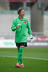 LLANELLI, WALES - Thursday, March 31, 2011: Turkey's goalkeeper Go?kc?em Elmira Can in action against Iceland during the UEFA European Women's Under-19 Championship Second Qualifying Round (Group 3) match at Parc Y Scarlets. (Photo by David Rawcliffe/Propaganda)