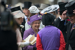 HM The Queen in the parade ring at Royal Ascot 2013,<br /> Ascot, United Kingdom,<br /> Thursday, 20th June 2013<br /> Picture by i-Images