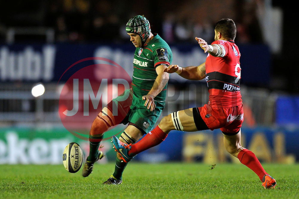 Julian Salvi of Leicester Tigers puts boot to ball - Photo mandatory by-line: Patrick Khachfe/JMP - Mobile: 07966 386802 07/12/2014 - SPORT - RUGBY UNION - Leicester - Welford Road - Leicester Tigers v Toulon - European Rugby Champions Cup