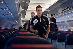20.08.2013, Sofia, BUL, UEFA CL Play off, PFC Ludogorez Razgrad vs FC Basel, Ankunft FC Basel in Sofia, im Bild David Degen im Flugzeug Airbus A320 // during departure FC Basel to the UEFA Champions League Play off Match between PFC Ludogorez Razgrad vs FC Basel in Sofia, Bulgaria on 2013/08/20. EXPA Pictures © 2013, PhotoCredit: EXPA/ Freshfocus/ Andy Mueller<br /> <br /> ***** ATTENTION - for AUT, SLO, CRO, SRB, BIH only *****