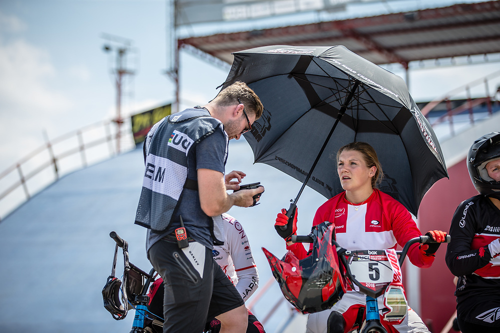#5 (CHRISTENSEN Simone Tetsche) DEN during practice at round 1 of the 2018 UCI BMX Supercross World Cup in Santiago del Estero, Argentina.