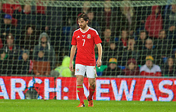 CARDIFF, WALES - Friday, November 13, 2015: Wales' Joe Allen looks dejected as the Netherlands score the opening goal during the International Friendly match at the Cardiff City Stadium. (Pic by David Rawcliffe/Propaganda)