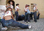 Italy, Florence, Fortezza da Basso, Fitfestival, preparing for a hip hop dance lesson