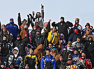 The crowd cheers at the Frozen Few 1st Inaugural Amateur Sno-X Race held at Hawkeye Downs, 4400 6th Street SW in Cedar Rapids on Saturday January 22, 2011. 1,200 people turned out to watch over 50 racers in 12 divisions at the event sponsored by the Frozen Few Snowmobile Club. A portion of the proceeds went to the Spina Bifida Association of Iowa. The next race is February 19th.