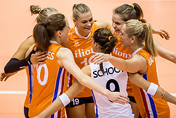 22-08-2017 NED: World Qualifications Netherlands - Greece, Rotterdam<br /> Lonneke Sloetjes #10 of Netherlands, Femke Stoltenborg #2 of Netherlands, Nika Daalderop #19 of Netherlands, Yvon Belien #3 of Netherlands, Maret Balkestein-Grothues #6 of Netherlands