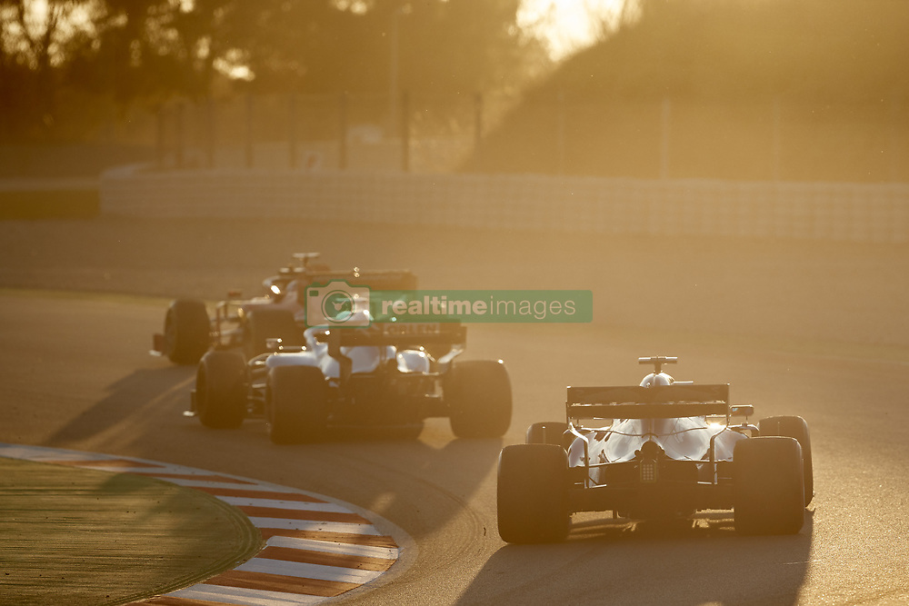 February 26, 2019 - Spain - Pierre Gasly (Aston Martin Red Bull Racing) RD15 car, George Russel (Williams Racing) FW42 car and Sebastian Vettel (Scuderia Ferrari Mission Winnow) SF90 car, are seen in action during the winter testing days at the Circuit de Catalunya in Montmelo  (Credit Image: © Fernando Pidal/SOPA Images via ZUMA Wire)