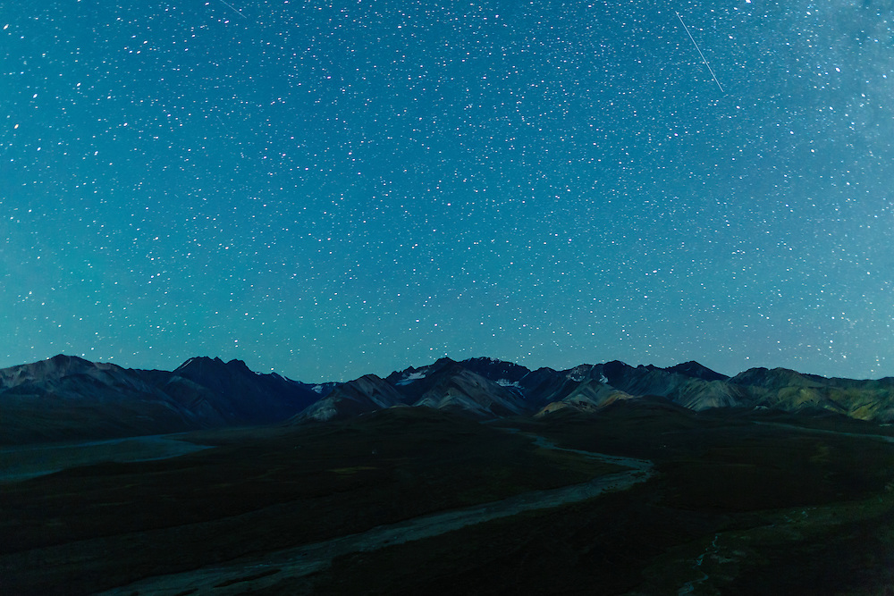 Night skies and Milky Way above Polychrome in Denali National Park in Interior Alaska. Autumn.