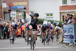 Annette Edmondson wins the sprint ahead of Barbara Guarischi at Pajot Hills Classic 2017. A 121 km road race on March 29th 2017 in Gooik, Belgium. (Photo by Sean Robinson/Velofocus)